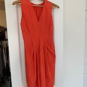 100% Silk tulip style coral pink dress